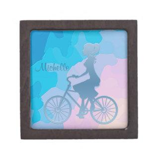 Azul abstracto del chica de la bicicleta caja de regalo