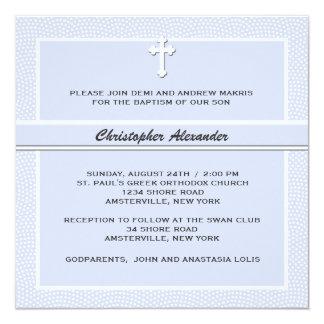 Azul acariciado - invitación religiosa invitación 13,3 cm x 13,3cm