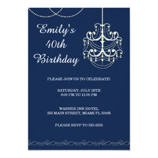 Azul adulto de la fiesta de cumpleaños de la invitación 12,7 x 17,8 cm