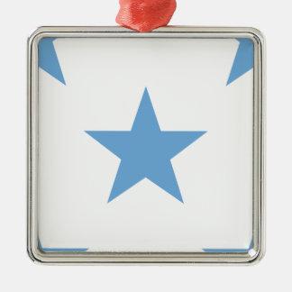 Azul apacible de la estrella 1 adorno navideño cuadrado de metal