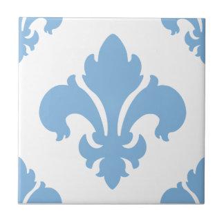 Azul apacible de la flor de lis 2 azulejo cuadrado pequeño