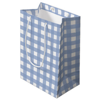 Azul azul de la serenidad de la guinga bolsa de regalo mediana