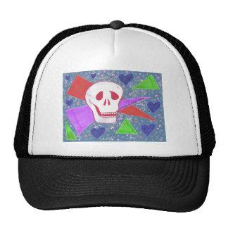 Azul azul del corazón del cráneo gótico gorras