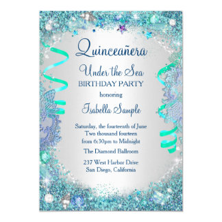 Azul bajo fiesta de cumpleaños de Quinceanera del Invitación 12,7 X 17,8 Cm