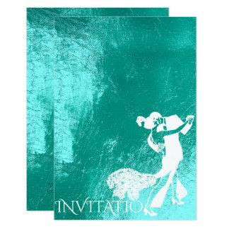 Azul blanco de la danza del tango de la aguamarina invitación 8,9 x 12,7 cm