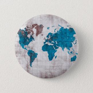 azul blanco del mapa del mundo chapa redonda de 5 cm