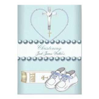 Azul blanco del rosa del muchacho del bautizo del invitación 12,7 x 17,8 cm