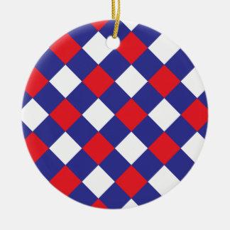 Azul blanco rojo de la tela escocesa 1 adorno redondo de cerámica