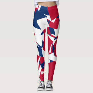 Azul blanco rojo leggings