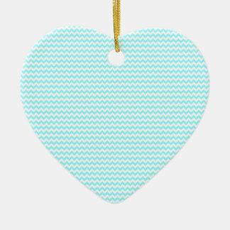 Azul blanco y eléctrico del zigzag - adorno de cerámica en forma de corazón