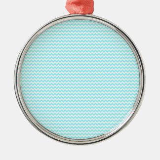 Azul blanco y eléctrico del zigzag - ornamento para arbol de navidad