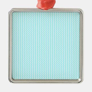 Azul blanco y eléctrico del zigzag - adorno cuadrado plateado
