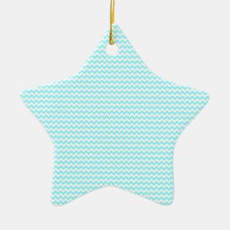 Azul blanco y eléctrico del zigzag - adorno de cerámica en forma de estrella