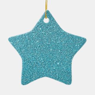 Azul brillante Bling de la aguamarina del brillo Adorno De Cerámica