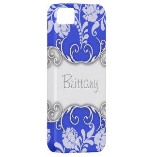 Azul brillante con los rosas blancos iPhone 5 carcasas