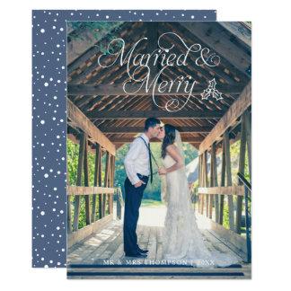 Azul casado y feliz de la tarjeta del día de