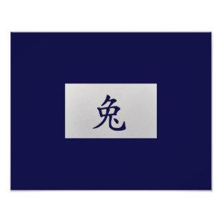 Azul chino del conejo de la muestra del zodiaco arte fotográfico