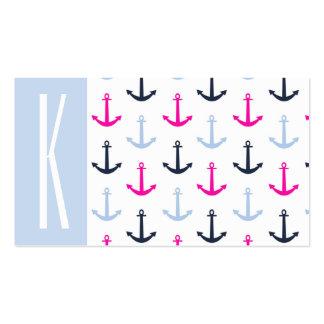 Azul claro, marina de guerra, y anclas náuticas de tarjetas personales