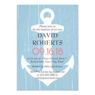 Azul claro rústico y ancla del bautizo del invitación 12,7 x 17,8 cm
