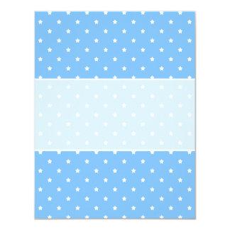 Azul claro y blanco. Modelo de estrella Invitación 10,8 X 13,9 Cm