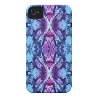 Azul con el diseño violeta y rojo iPhone 4 Case-Mate protectores