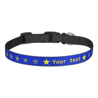 Azul con las estrellas del amarillo personalizadas collares de perro