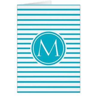 Azul con monograma del equipo de submarinismo del tarjeta de felicitación