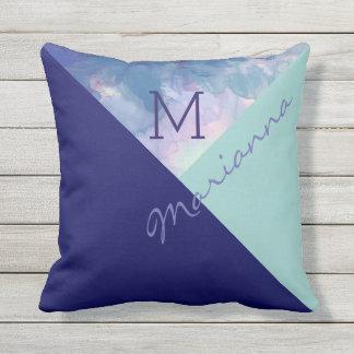 azul con monograma original y exclusivo cojín decorativo