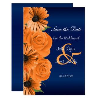 Azul con reserva color de rosa y de la margarita invitación 8,9 x 12,7 cm