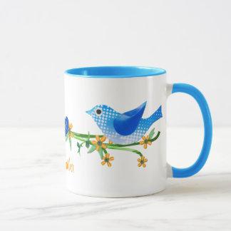 Azul conocido de encargo de la taza de los pájaros