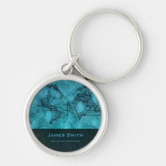 Azul conocido de encargo de los mapas del mundo llavero redondo plateado