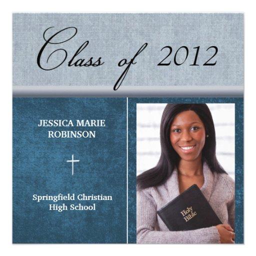 Azul cristiano de la graduación de la foto de la e anuncio
