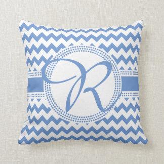 Azul cursivo y blanco del monograma del color de cojín decorativo