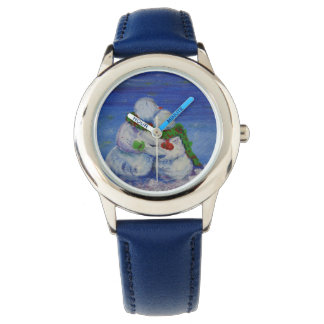 Azul de acero inoxidable del muñeco de nieve de reloj