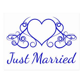 Azul de cobalto apenas casado casando el corazón postal