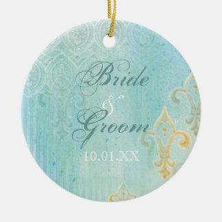 Azul de Fleur di Lys Damask 2 - ornamento del boda Adorno Navideño Redondo De Cerámica
