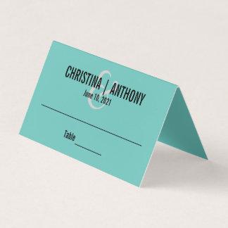 Azul de la aguamarina personalizado casando la tarjeta de asiento