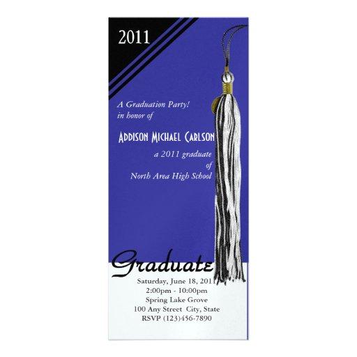 Azul de la borla de la graduación invitaciones personales