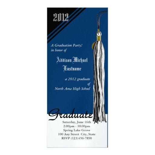 Azul de la borla de la graduación comunicado personal