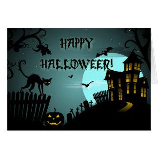 Azul de la casa encantada del gato negro del feliz tarjeta de felicitación