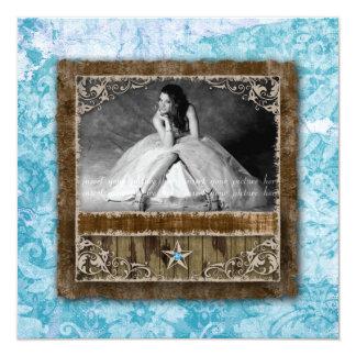 Azul de la estrella de la tarjeta de la foto del invitación 13,3 cm x 13,3cm
