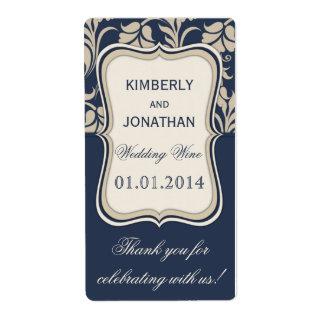 Azul de la etiqueta de la botella de vino del boda etiqueta de envío