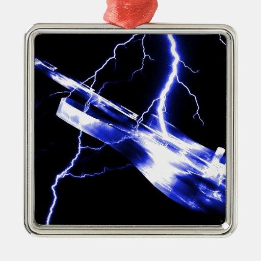 Azul de la guitarra eléctrica ornaments para arbol de navidad