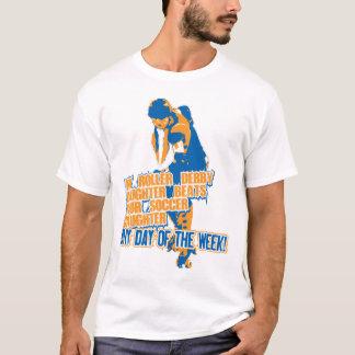 Azul de la hija de Derby del rodillo Camiseta
