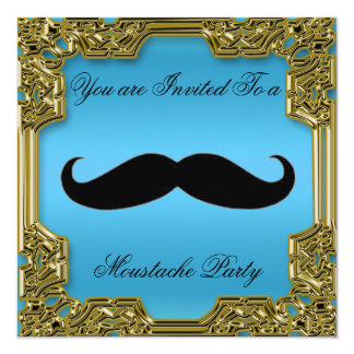 Azul de la invitación de la fiesta de cumpleaños invitación 13,3 cm x 13,3cm