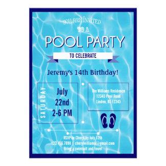 Azul de la invitación de la fiesta en la piscina
