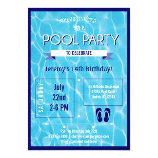 Azul de la invitación de la fiesta en la piscina invitación 12,7 x 17,8 cm
