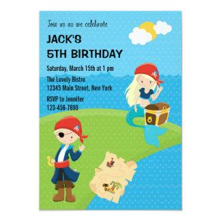 Azul de la invitación del cumpleaños del pirata y invitación 12,7 x 17,8 cm