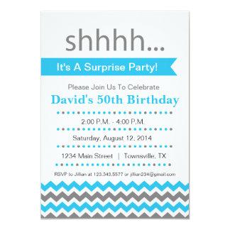 Azul de la invitación del fiesta de sorpresa de