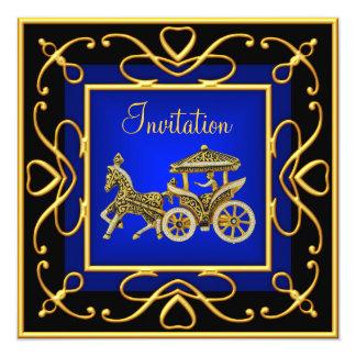 Azul de la invitación del fiesta del carro del oro invitación 13,3 cm x 13,3cm
